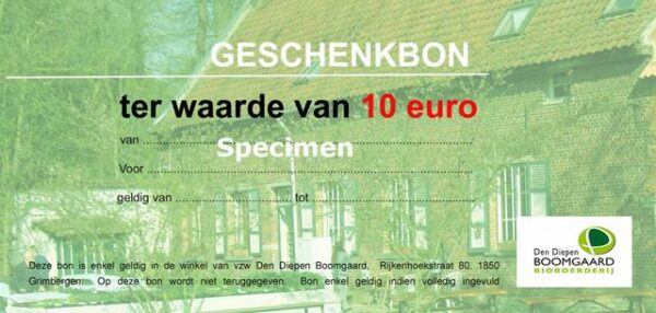 Geschenkbon hoevewinkel 10 euro